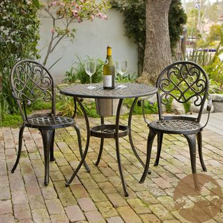 Christopher Knight Home Angeles Cast Aluminum Outdoor Bistro Furniture Set  With Ice Bucket Paired With Some