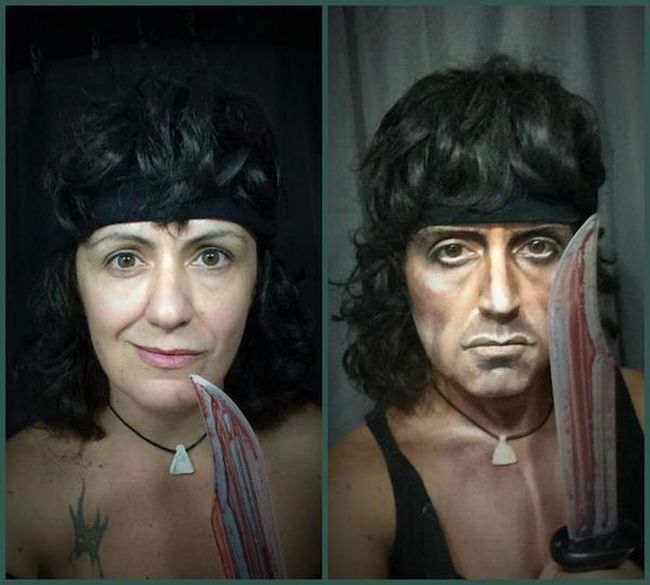 The Magic of Makeup!! This woman can turn herself into completely different people with theater makeup!