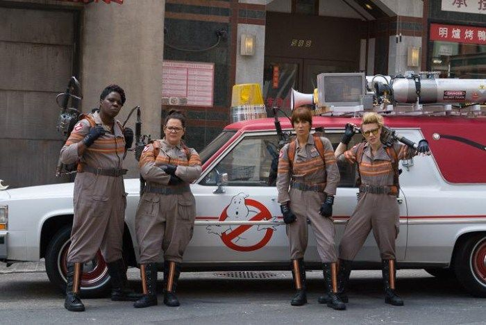Who ya gonna call?! The first official cast photo of the new Ghosbusters, posted online by director Paul Feig this morning. From left to right: Leslie Jones, Melissa McCarthy, Kristen Wiig, and Kate McKinnon (plus ECTO-1, of course).