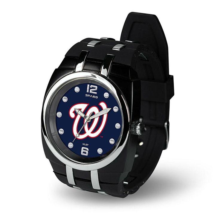 "Football Fan Shop MLB Team Logo ""Crusher Series"" Rubber Strap Sports Watch - Washington Nationals"