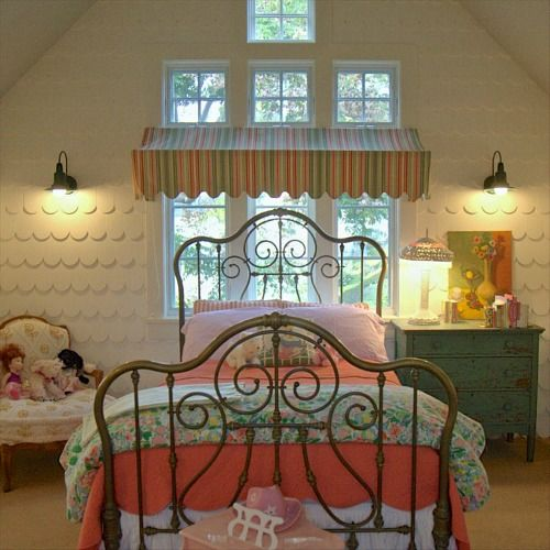 Scalloped shingles give this little girl's room a dollhouse feel -  Alison Kandler's Colorful Farmhouse