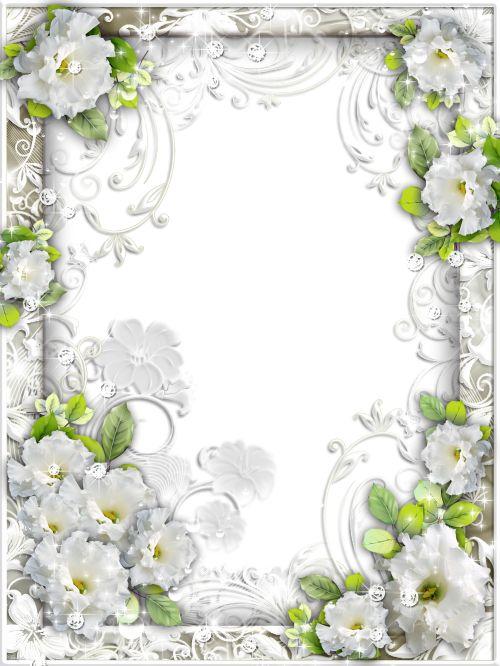 Белая цветочная рамка