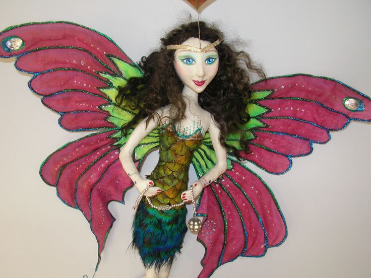 MADAM BUTTERFLY,CLAY FACE AND PEACOCK FEATHERS. #CLOTHDOLL #ARTDOLL