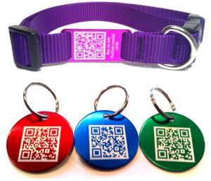 A QR code dog tag that links to a profile online includes where the dog lives, vaccinations, medication, vet info, and more! microchip is safest, but this is pretty awesome in addition to that!       (Remember that you would have to count on anyone who finds your pet being tech savy enough to know how to use this; so, you still need traditional tags and a microchip just in case!)