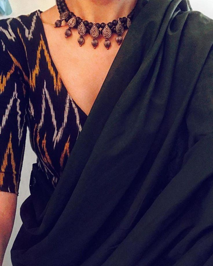 Plain mangalagiri saree with Ikat blouse