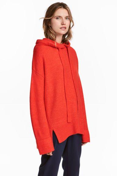 Jersey de punto con capucha - Rojo vivo - MUJER | H&M ES 1