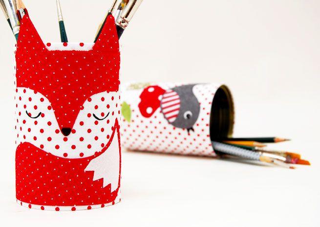 Fuchs-Utensilo für Stifte und mehr // fox-shaped storage mug for pens and more via DaWanda.com