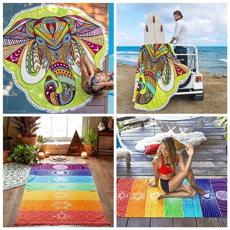 1pcs Summer Beach Tapestry Wall Hanging Mandala Mandala Blanket Elephant Tapestry Rainbow Stripes Travel