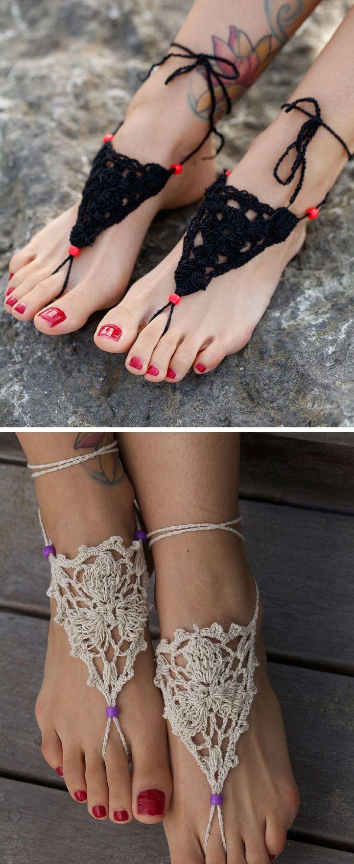 Crochet Barefoot Sandals ♡ L.O.V.E.