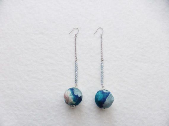 EMOR-21210  A pair earrings  with Kimono fabric and by EIKORYTHM