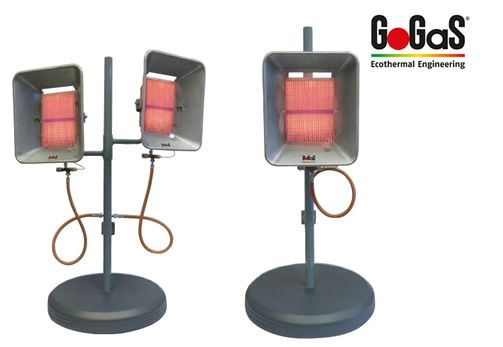 Mobile high intensity heaters with natural gas with tiltable heads. For further Information visit www.gogas.com or www.ecothermal-engineering.de