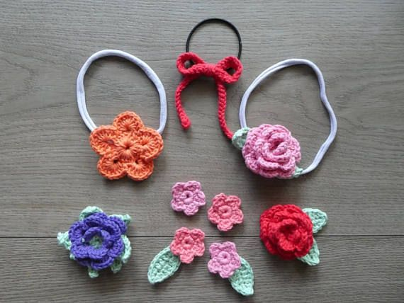 Baby girl crochet flower headband or hair tie