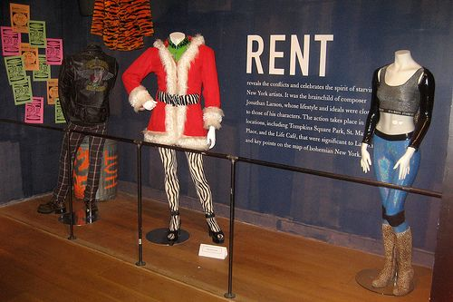 RENT costume exhibit at the Museum of the City of New York