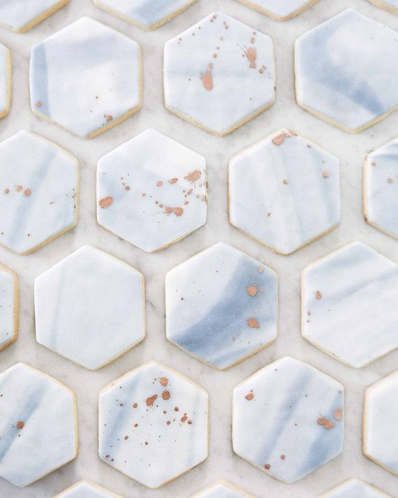 Sugar cookies iced with marbled fondant resembled Italian tiles—only much…