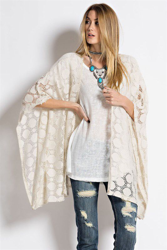Super cute lace cardi!  Great romantic look.  And super fun paired with ripped jeans. https://www.facebook.com/kleeboutique/