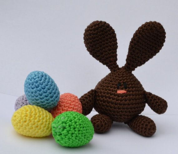 Crocheted Easter Bunny called Hidey, who is in training to become a super-hiding Easter Bunny
