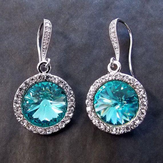 Light Turquoise Blue Swarovski Rivoli Drop Earrings - Bridesmaid Wedding Chandelier Bridal Dangle - Custom Colors Made to Match Your Dress on Etsy, $40.00