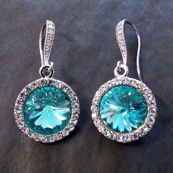 Light Turquoise Blue Swarovski Rivoli Drop Earrings - Bridesmaid Wedding Chandelier Bridal Dangle - Custom Colors Made to Match Your Dress on Etsy, $40.00