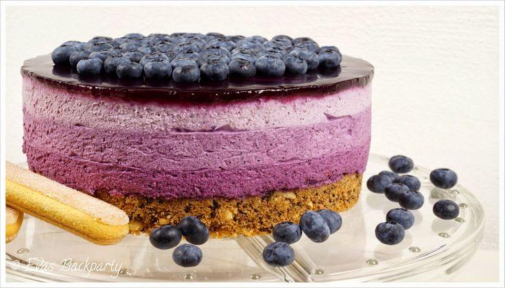Evas Backparty : fruchtige Blaubeertorte im Ombre - Muster (ohne zu Backen)