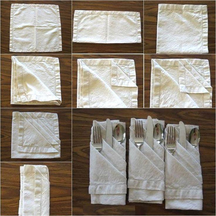 Una creativa manera de doblar servilletas (papel o tela) para una cena o buffet.