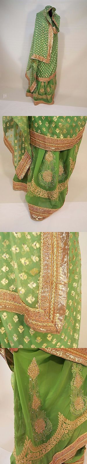 Other Ind-Pak Clothes and Accs 155251: Indian Gold Green Sari Wedding Dress Bollywood Lehenga Choli Wedding Bridal Free -> BUY IT NOW ONLY: $42 on eBay!