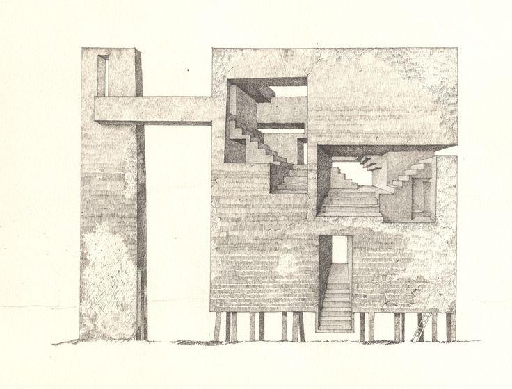 39 Tower 3 39 Sergey Mishin 2013 Ink On Paper 20x30cm