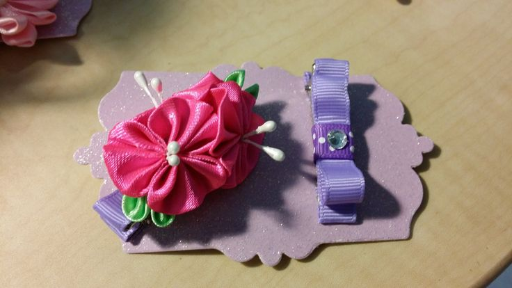 Girls kanzashi flower hair clip set ,hair accessories by 4yourbeautifulangel on Etsy
