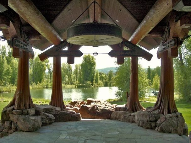 Beautiful cypress porch posts on stone bases for Cypress porch columns