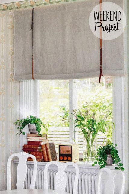 Roman window shade DIY with upcycled belts, painted furniture, books, plants