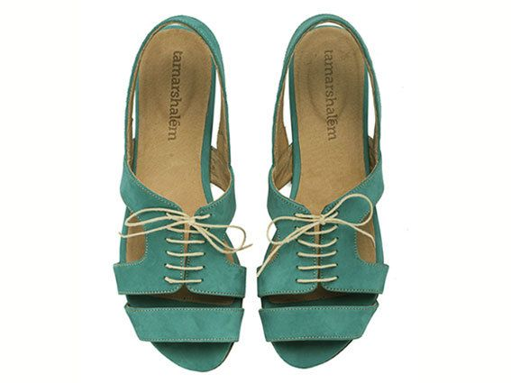 Shirley Turquoise Sandals Flat Leather Sandals by TamarShalem, $167.00
