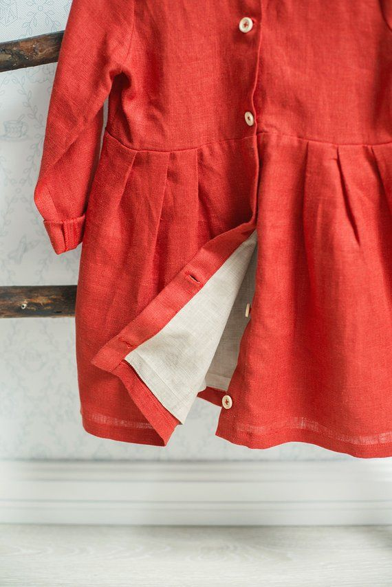 4a77f34a918 Linen dress for girls with long sleeves on the lining and buttons on ...