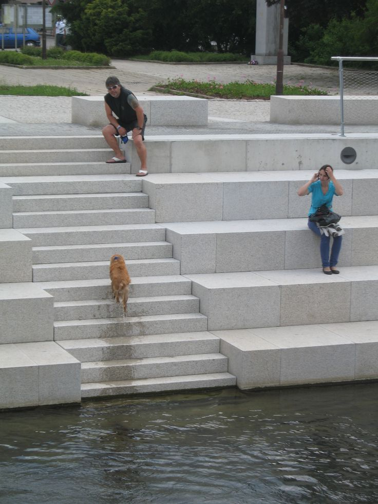 two people and one dog on the riverbank