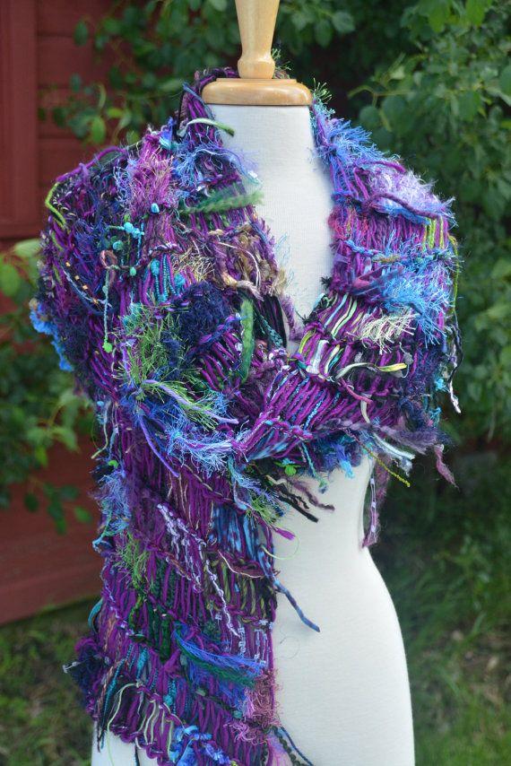 Fringed Knit Shawl  Dumpster Diva 'Crisp by RockPaperScissorsEtc