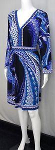 ECI-Blue-Black-White-Paisley-Print-Dress-3-4-Sleeves-Knee-Length-Size-XXL-6210