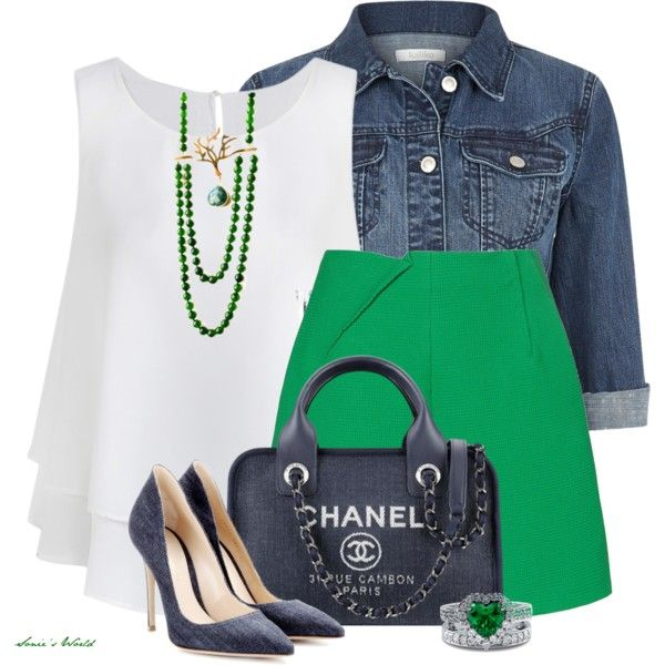 Sleeveless White Top with Kelly Green Skirt and Denim Crop Jacket Summer Outfit