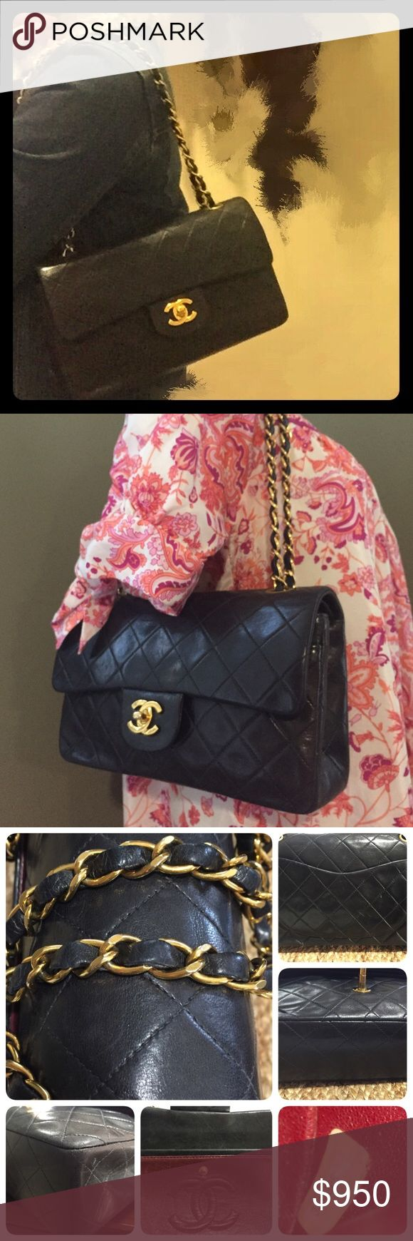 Vintage Chanel shoulder bag Classic vintage Lambskin Small  flap Chanel shoulder bag. Excellent condition. Has minor scratches ( not to obvious, everything is on the pictures). No card no dust bag. Has a serial number for authenticity. Price is reflex on the condition. CHANEL Bags Shoulder Bags
