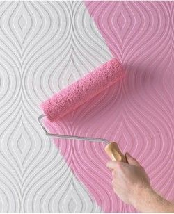"""I remember this from several years past, always wanted to do...but hanging textured wallpaper..ugh!!  Love the look though...and the """"pink"""" color!: Decor, Paintable Curvy, Ideas, Paintable Wallpaper, Textured Wallpaper, Wallpapers, Brown, Curvy Paintable, Accent Wall"""