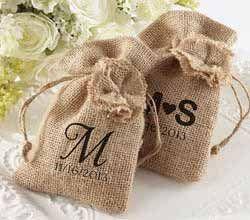 Burlap Favor Bag with Drawstring Tie - Rustic Wedding Favors by Kate Aspen