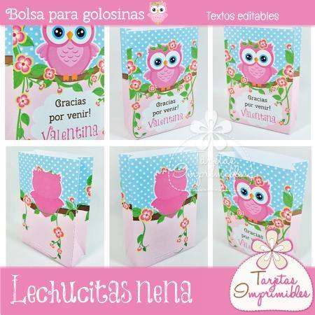 Bolsa para golosinas Lechucitas para regalar el día del amigo con golosinas, chocolates o regalitos pequeños - Tarjetas Imprimibles