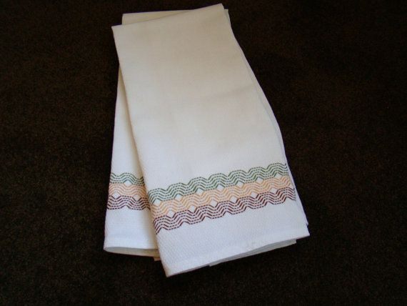 Items similar to Handmade Swedish Weaving Embellished Towels Set of 2  #122 Waves Gold, Green, & Brown on Etsy
