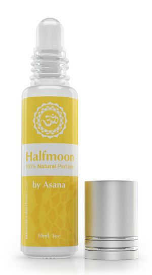 Halfmoon by Asana is an all natural perfume with the scent of happiness and inner strength.  Asana natural perfumes are aroma therapeutic and yoga inspired.  10 ml glass roll on perfume oil with 100% pure essential oils, made by an artisan perfumer in Canada. AROMA Fresh, citrusy, floral, sweet, spicy, warm, well balanced.      Head notes of bergamot, lemongrass.     Heart notes of lavender     Soul notes of frankincense and patchouli.