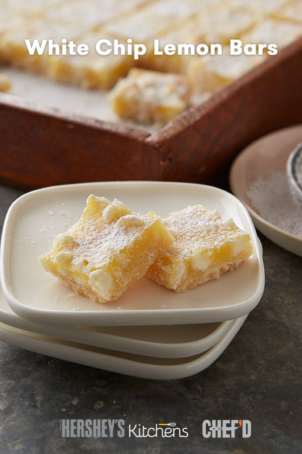 Our White Chip Lemon Bars are a little bit sweet, a little bit tart. With a buttery crust and creamy filling made with HERSHEY'S Kitchens Premier White Chips and freshly squeezed lemon juice, these bars are a perfect balance of sweet and sour. Save a trip to the grocery store and get all the preportioned ingredients for them delivered right to your door! Chef'd makes baking delicious HERSHEY'S recipes even easier with their new dessert kits.