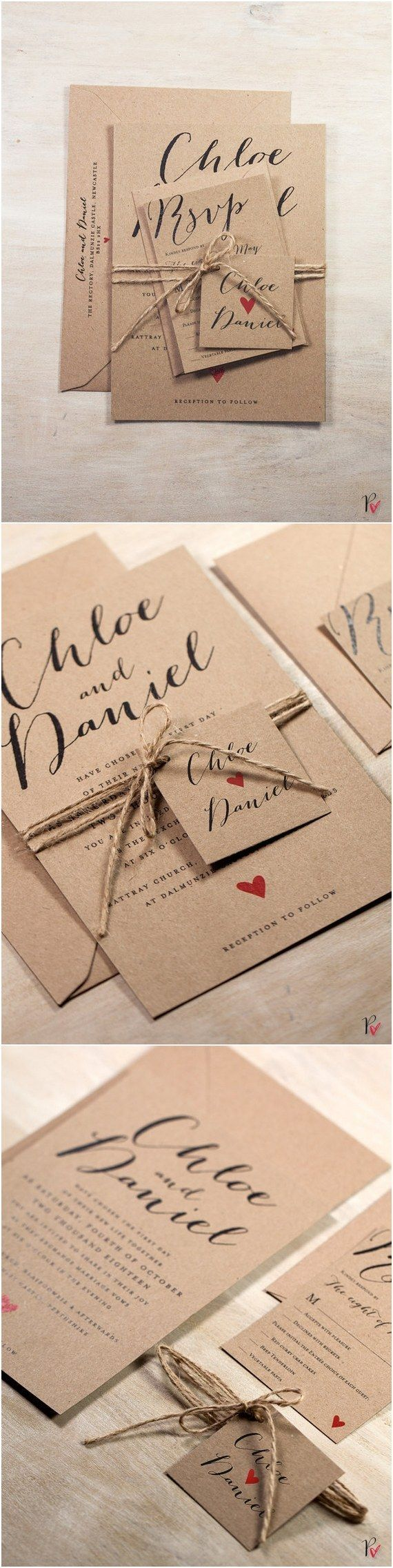 Rustic Kraft Wedding Invitation Suite / http://www.deerpearlflowers.com/rustic-wedding-invitations-from-etsy/
