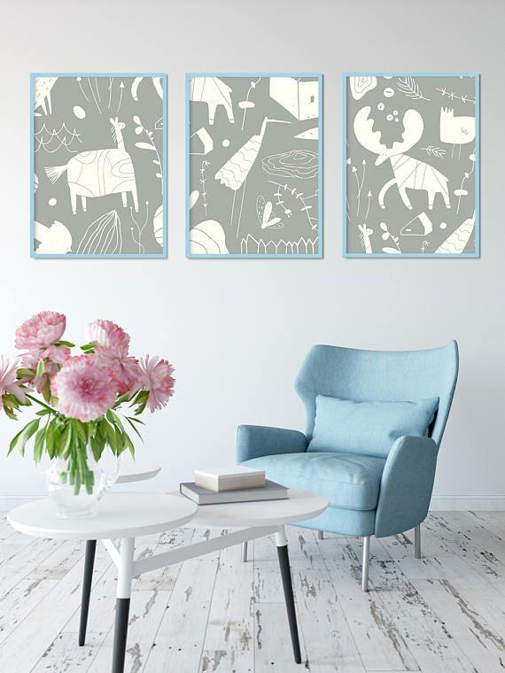 Scandinavian poster with animals Set of 3 prints Animal
