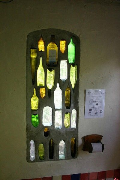 upcycled glass bottle window