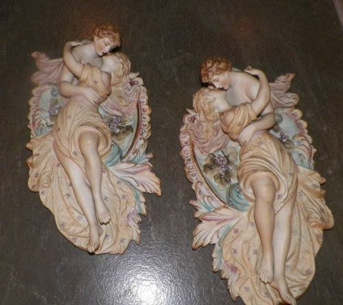 Gorgeous Old Antique Porcelain Set of Man & Woman Kissing Wall Hanging Figurines