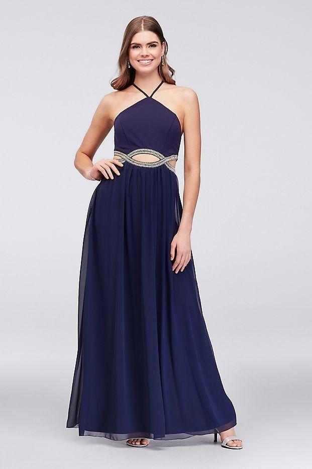Chiffon High Neck Prom Dress With Embellished Cutouts Davids