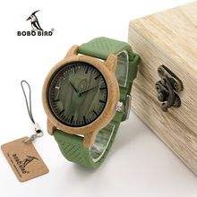 BOBO BIRD WB06 New Fashion 2017 Bamboo Wood Watches with Soft Green Silicone Straps Japan Quartz Movement 2035 Watch in Boxes(China (Mainland))