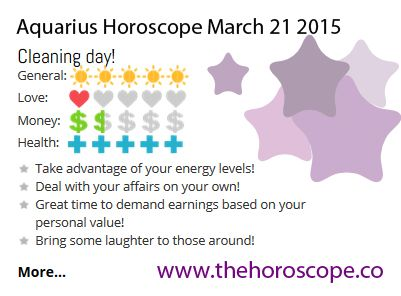 Cleaning day for #Aquarius on March 21st 2015 #horoscope … http://www.thehoroscope.co/horoscope/Aquarius-Horoscope-today-March-21-2015-2675.html