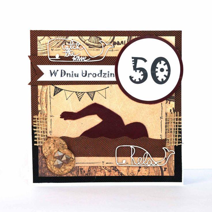 Urodzinowa kartka dla codziennie pływającego pięćdziesięciolatka (użyte materiały to naturalna skóra, tkanina oraz korek)  #kartka #birthdaycard #papercard #papercrafts #craft #handmadecard #handmade #kartkanaurodziny #scrapbooking #scrapbookingcards #rekodzielo #kartkaurodzinowa #urodziny #pływanie